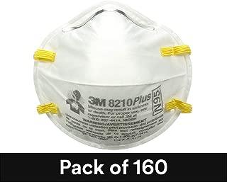 3M Particulate Respirator 8210Plus, N95, Smoke, Dust, Grinding, Sanding, Sawing, Sweeping, 160/Pack