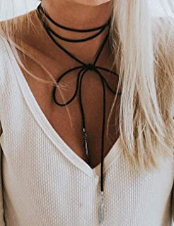 Leather Gift for Her 007 Necklage,Choker Necklace Wrap Choker Choker Necklace Leather Choker Y Necklace Boho Choker Lariat Necklace