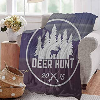 Luoiaax Hunting Children's Blanket Deer Hunt Emblem Design Pines with Antler Silhouette Snowy Mountains Lightweight Soft Warm and Comfortable W70 x L90 Inch Brown Blue and White