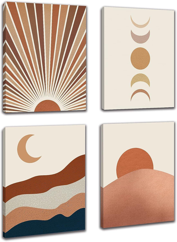 FRAMED Mid Century Modern Boho Canvas Wall Art, Sunset Sunrise Moon Wall Decor, Abstract Landscape Boho Wall Decor, Moon Phases Wall Painting For Living Room Bedroom Office Home Decor Set of 4, 8x10in (Framed)