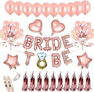 AivaToba Bride to BE Décorations Or Rose, Bride to BE Ballons,Ballons confettis pour Douche Nuptiale Bachelorette,Hen Part...