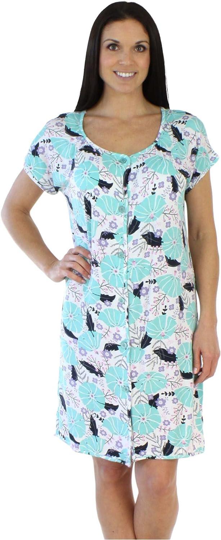 BSoft Women's Sleepwear Bamboo Jersey Button Up Short Sleeve Sleepshirt