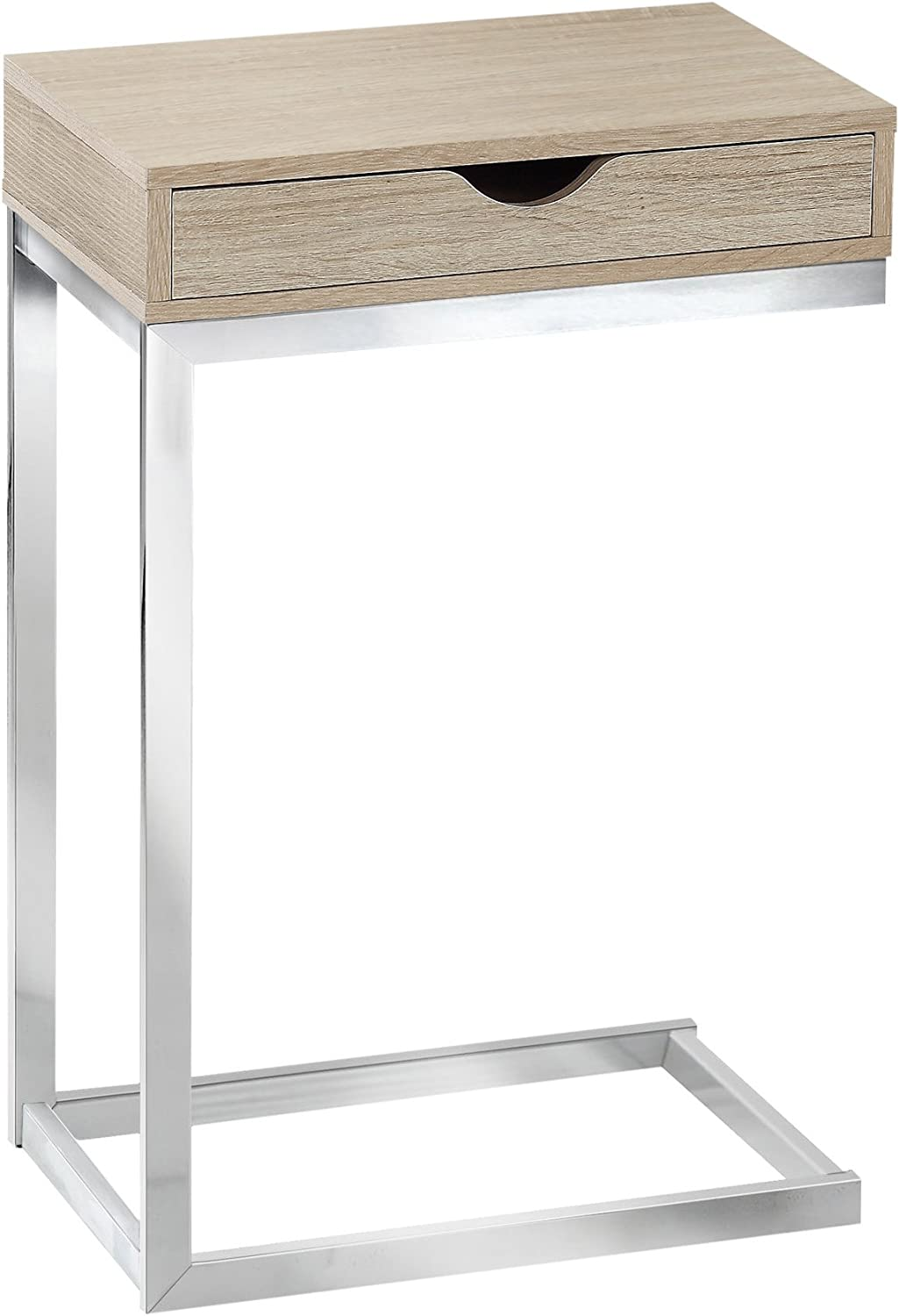 Monarch Specialties Reclaimed-Look Chrome Metal Accent Table, 19.75-Inch, Natural