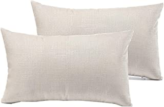 """RainRoad Decorative Throw Pillow Cover for Sofa Couch Bedroom Car Cotton Linen Pillow Case Cushion Cover (White, 12"""" x 20""""(2pcs))"""