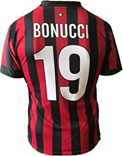 A.C. Milan - Camiseta de Bonucci del AC Milan, dorsal 19, réplica autorizada 2017-2018, para niño (tallas 2, 4, 6, 8, 10, 12) y adulto (tallas S, M, L, XL)