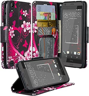 Microseven HTC Desire 530 Desire 555 Desire 550 Desire 630 Case, HTC Desire 530 Wallet Case, Luxury Leather Case Flip Cover with Card Slots Stand for HTC Desire 530 (Pink Heart)