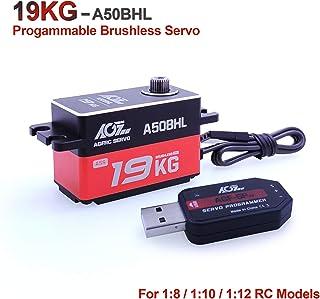 AGFrc 19KG Low-Profile High-Torque Programmable-Digital-Servo - Full Metal Gear CNC Case Brushless Servo for 1/10 RC Models, Control Angle 180° (A50BHL&AGF-SPV2)