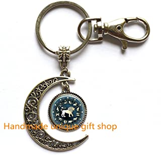 Beautiful Moon Keychain,Gift Moon Keychain,Leo Moon Keychain Zodiac Jewelry Astrological Sign Lion July August Birthday Astrology Art Moon Key Ring in Bronze or Silver with Link Included.TD018