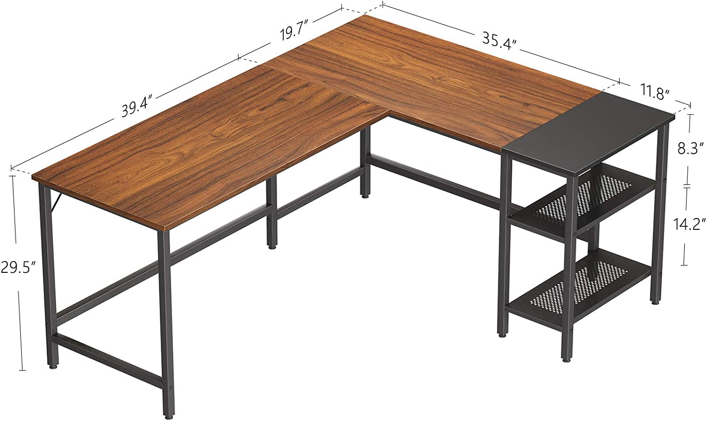 CubiCubi L-Shaped Computer Desk Dark Rustic//Black Industrial Office Corner Desk Writing Study Table with Storage Shelves Space-Saving