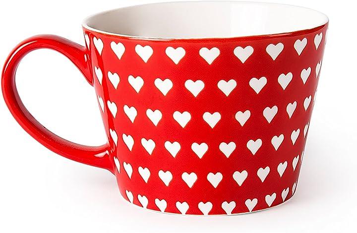 Tazza in porcellana con cuori excelsa enjoy tazza jumbo, porcellana, rosso, 11 x 11 x 8 cm 60941