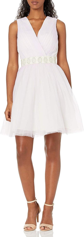 Minuet Womens Short 2 Tone Tulle Dress with Crystal Waistband