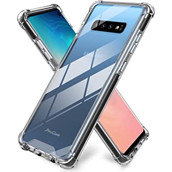 ProCase Galaxy S10 Case Clear, Slim Hybrid Crystal Clear TPU Bumper Cushion Cover with Reinforced Corners, Transparent Scratch Resistant Rugged Cover Protective Case for Galaxy S10 2019 –Black Frame