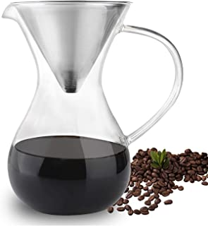 Phyismor Pour Over Coffee Maker with Stainless Steel Filter, Coffee Drip Dripper Brewer Pitcher, Borosilicate Glass Carafe,1 Liter/33 oz, for Hand Made Manual Coffee