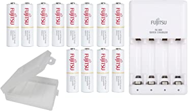 Fujitsu Individual NiMH AA/AAA Battery 2-4 Hour Quick Charger, with 12 AA Fujitsu Rechargeable Batteries, with Battery Holders