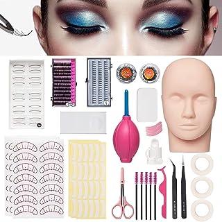 Mannequin Training Head False Eyelashes Extension Practice Set Make Up Eye Lashes Train Model Graft Kits for Professionals...