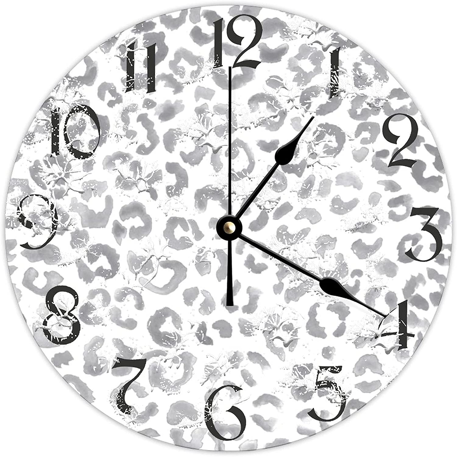 Omaha Mall DKISEE Round Wooden Wall Clock Luxury goods Prin Leopard OperatedGray Battery