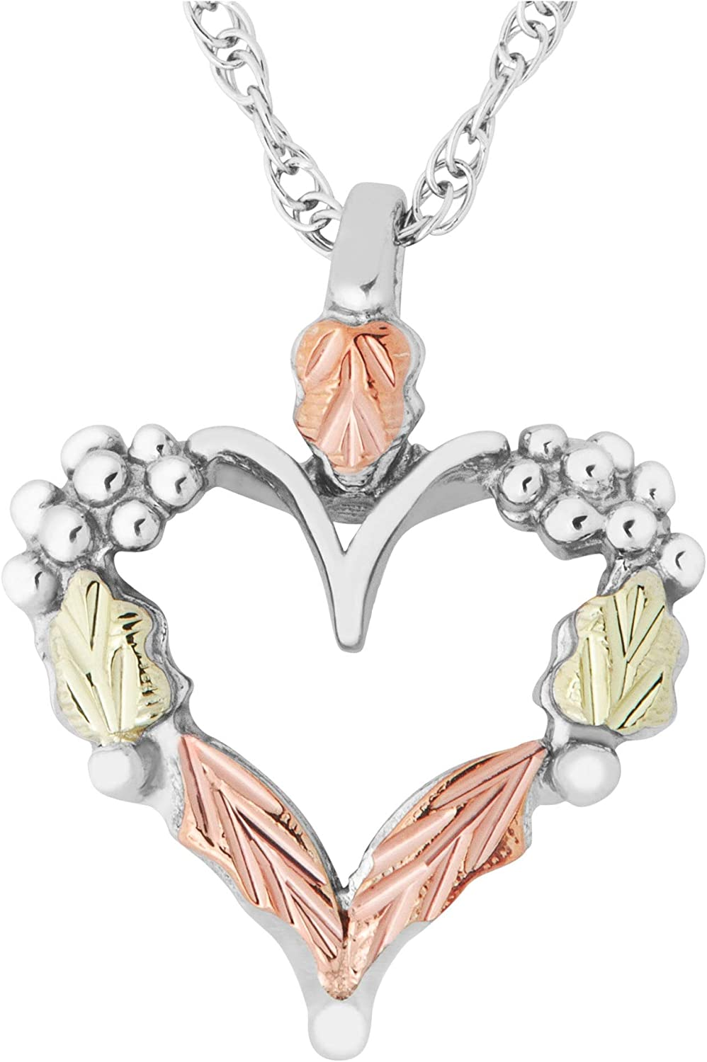 Phoenix Mall Petite Heart Pendant Necklace Sterling Rose Gre 12k and Silver unisex