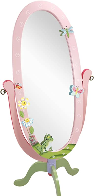 Fantasy Fields Magic Garden Thematic Kids Wooden Standing Mirror For Girls Imagination Inspiring Hand Crafted Hand Painted Details Non Toxic Lead Free Water Based Paint