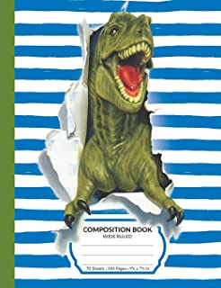 Composition Book: Dinosaur T-Rex Wide Ruled Blank Lined Writing Notebook   For School Assignments, Exercises, Lists, Or Notes (Blue Version)