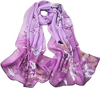 KAVINGKALY Chiffon Flower Scarf Women's Floral Scarves Printe Chiffon Scarf Polka Dot Shawls Long Scarf Wrap