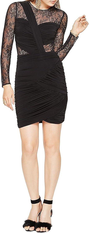 BCBG Max Azria Womens Richelle Long Sleeve Lace Cocktail Dress