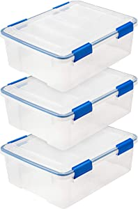 IRIS USA WSB-S 26.5 Quart WEATHERTIGHT Multi-Purpose Storage Box, Clear with Blue Buckles, 3 Pack