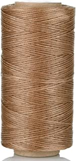 Selric [24 Colors Available] 150D 0.8mm 284Yards Flat Waxed Thread Hand Stitching Cord Leather Craft Tool Leather Stitching Sewing (Retro-Brown)