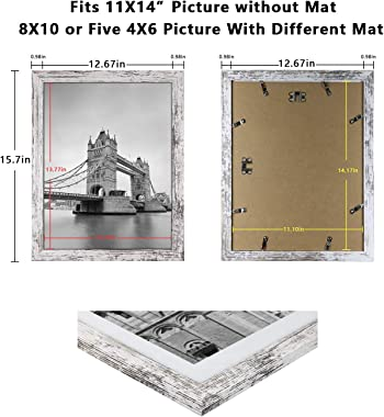 Q.Hou 11x14 Picture Frames Wood Patten Distressed White Set of 2, Each Frame with 2 Mats,Display 8x10 or Five 4x6 Photos with Mat & 11x14 Picture Without Mat for Farmhouse Wall Decor (QH-PF11X14-RW)