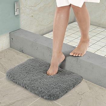 YIQI Alfombrilla de baño Absorbente de Agua Extra Gruesa Alfombra de baño de Microfibra Alfombra de baño Antideslizante Alfombras de Felpa Gruesas Lavables (Gris 40x60 cm)