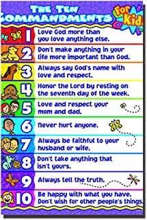 POSTERFORHOME The Ten Commandments Poster for Kids, Religious Poster Decorative for Home 20 x 30 inchs