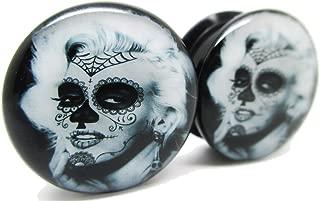 Marilyn Monroe - Sugar Skull Ear Plugs - Acrylic Screw-On - 10 Sizes - Pair