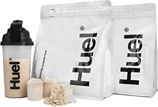 Huel Starter Kit - Includes 2 Pouches of Nutritionally Complete 100% Vegan Powdered Meal, Scoop, Shaker and Booklet (7.7lbs of Powder - 28 Meals) (Unflavored Unsweetened)