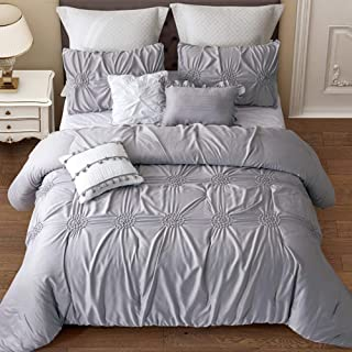 Alicemall Graceful Gray Comforter Set with Pillowcases and Throw Pillow Covers 6 Pieces Silk Like Microfiber Polyester Hyp...