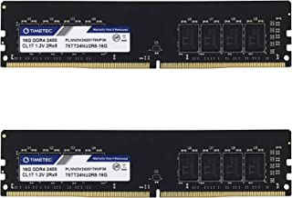 Timetec 32GB KIT(2x16GB) DDR4 2400MHz PC4-19200 Non-ECC Unbuffered 1.2V CL17 2Rx8 Dual Rank 288 Pin UDIMM Desktop PC Compu...