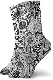 Dydan Tne, Niños Niñas Locos Divertidos Negro Blanco Doodle Calcetines de Calaveras de azúcar Lindos Calcetines de Vestir de Novedad