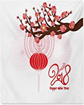 Chinese New Year Living Room Wall Decor Blossoming Cherry Branch and Lantern with Happy Wish Wall Pictures for Boys Living...