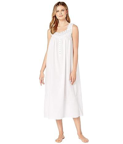 Eileen West Woven Sheer Stripe Clip Dot Sleeveless Ballet Nightgown (Solid White) Women