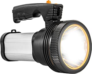Super Bright Rechargeable Flashlight Handheld LED Boat Spotlight Heavy Duty Tactical Flashlight with Handle Searchlight CREE L2 6000 Lumens Ultra-long Standby Electric Torch with USB Output as a Power