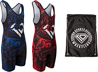 KO Sports Gear Wrestling Bundle – Dragon Style, Includes 2 Singlets and Gear Bag
