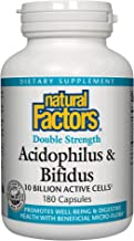 Natural Factors, Acidophilus & Bifidus Double Strength, Supports Digestive Health and Microflora Balance, Probiotic Supplement, 10 Billion CFU, 180 capsules (180 servings)