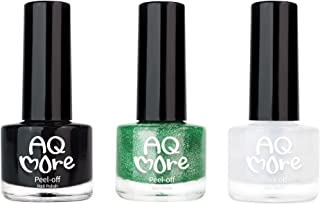 AQMORE Non Toxic Water Based Peel Off Nail Polish - Stays on for Days, Gel-Like Shine, Dries in Minutes, Fragrance & Paraben Free, Kid Safe, 2 Colors + Top Coat (0.20 fl oz/Bottle) - Halloween Party