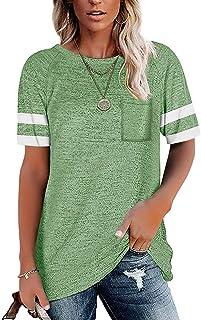 Womens Short Sleeve T Shirts Loose Tunic Tops Crewneck...