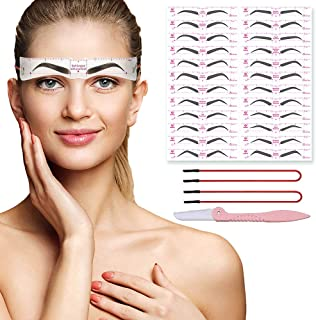 DAGEDA Eyebrow Stencils Kit, 24 Styles Reusable Grooming Eye Brow Shaper Template Set With Strap And 3 Minutes Makeup Tool...