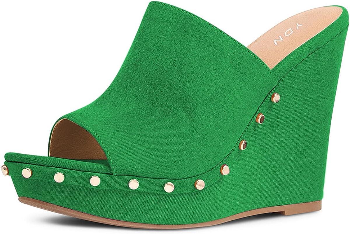 YDN depot Women Studded High Heel Wedge Direct sale of manufacturer Toe Clog Open Platform Sandals