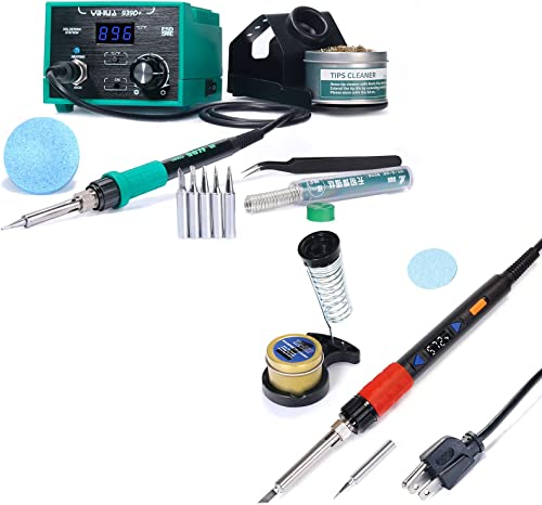 discount YIHUA 939D+ Professional Soldering Station (Green) bundle with YIHUA 928D-III High 2021 Power popular Soldering Iron as Secondary/Backup with Iron Holder, Soldering Cleaning Kit, and Accessories (17 Items) online