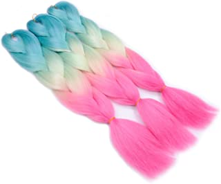 Jumbo Braiding Hair (Green/Yellow/Pink Red) 3pcs Jumbo Braid Hair Extension Ombre Colors High Temperature Synthetic Fiber