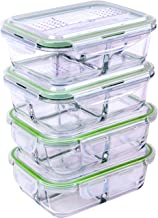 [4 PACK] FreshSav Series 35.5 oz 3-Compartment Glass Meal Prep Food Storage Containers Set Airtight locking Lids | Microwave, Freezer, Oven & Dishwasher Safe | 2 Regular Lid + 2 Lid with Utensils