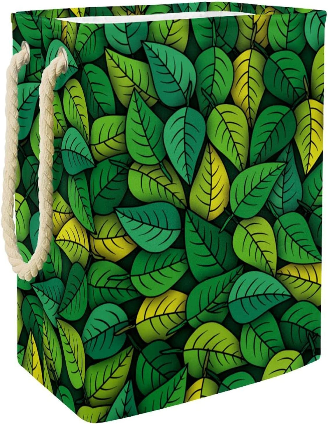 Laundry Hamper Green Leaves Seamless Pattern Max 76% OFF OFFer Linen Laun Foldable