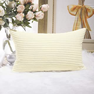 Home Brilliant Solid Striped Velvet Corduroy Couch Chair Oblong Cushion Cover Throw Pillow for Baby Toddler Nap, 12 x 20, Cream Cheese