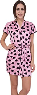 American-Elm Pink Hart Printed Short Gown for Women
